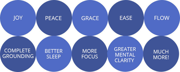 Joy, Peace, Grace, Ease, Flow, Complete grounding, Better sleep, More concentration, Greater mental clarity and much, much more.