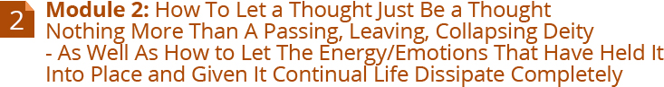 Module 2: How To Let A Thought Just Be A Thought Nothing More Than A Passing, Leaving, Collapsing Deity - As Well As How To Let The Energy/Emotions That Have Held It Into Place And Given It Continual Life Dissipate Completely